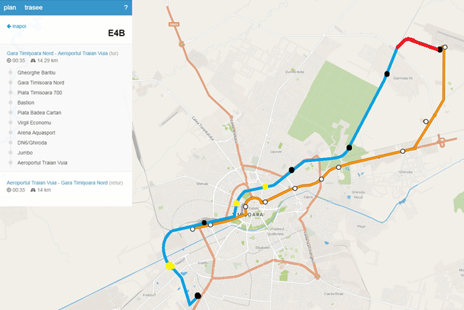 Rută tren Timișoara - Aeroport