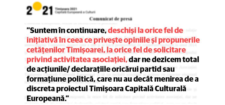 Asociația Timișoara Capitală Culturală nu le răspunde cetățenilor, deși funcționează pe banii lor