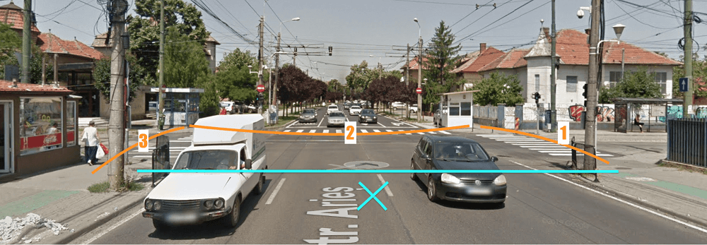 Timișoara - trecere de pietoni în U strada Cluj